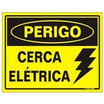 Placa de Poliestireno Auto - Adesiva 15x20cm Perigo Cerca Elétrica - 220 BS - SINALIZE