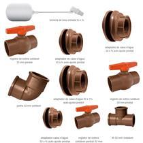 Kit Fácil Completo para Instalação de Caixa D'Água com 1 Torneira, 4 Adaptadores , 3 Registros, 1 Tê, 1 Joelho - 625100004 - BRASILIT