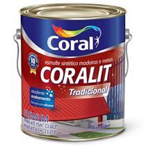 Tinta Esmalte Sintético Coralit Tradicional Brilhante Para Madeira e Metal Cinza Medio 3,6 Litros - CORAL