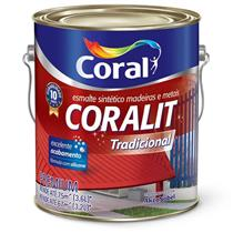 Tinta Esmalte Sintético Coralit Tradicional Brilhante Para Madeira e Metal Platina 3,6 Litros - CORAL