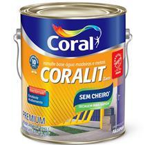 Tinta Esmalte Sintético Coralit Zero Brilhante Base Água Para Madeira e Metal Amarelo 3,6 Litros - CORAL