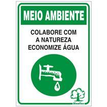Placa de Poliestireno Auto-Adesiva 20x30cm Economize Água - 250 CC - SINALIZE