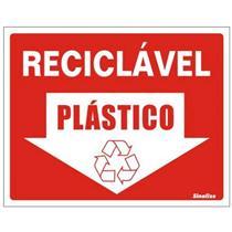 Placa de Vinil Auto-adesiva 15x20cm Reciclével Plástico - 420 AQ - SINALIZE