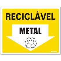 Placa de Vinil Auto-adesiva 15x20cm Material Reciclável Metal - 420 AU - SINALIZE