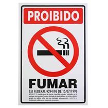 Placa de Poliestireno Auto-Adesiva 5x25cm Proibido Fumar Lei - 250 AW - SINALIZE