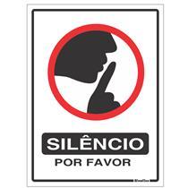 Placa Silêncio Por Favor 15x20cm - 220CA - SINALIZE