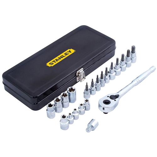 """Jogo de Ferramentas Mecânicas Tipo Torx 1/2"""" e 3/8"""" Caixa Metálica 21 Peças - 97-192 - STANLEY"""