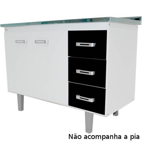 Gabinete Monza para Pia 120cm Branco e Preto - UMO-GPN12 - BONATTO
