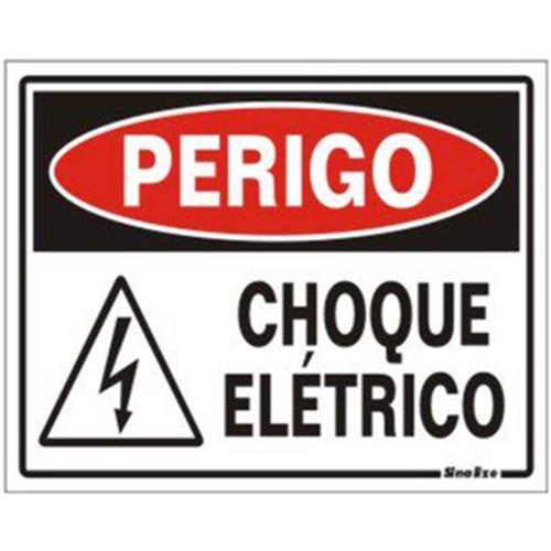 Placa de Poliestireno Auto-Adesiva 20x15cm Perigo Choque Elétrico - 220 BB - SINALIZE
