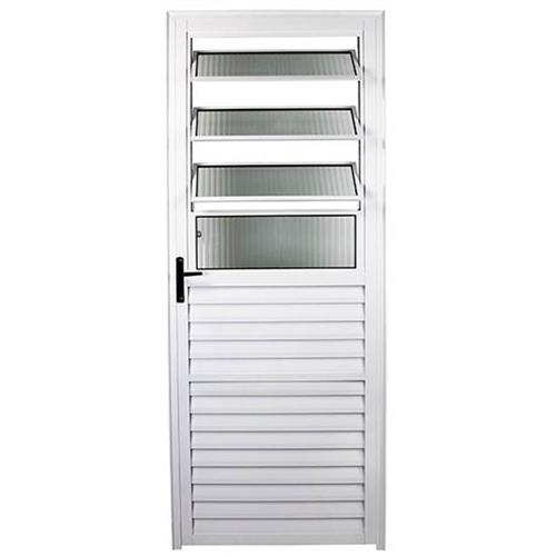 Porta de Alumínio Basculante Branca 210 x 80 L-25 Esquerda - FACCE