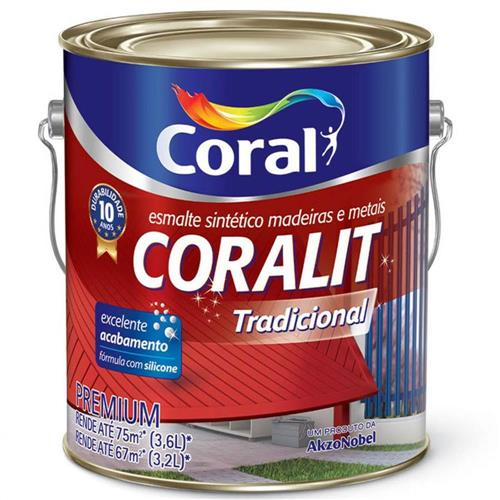 Tinta Esmalte Sintético Coralit Tradicional Brilhante Para Madeira e Metal Alumínio 3,6 Litros - CORAL