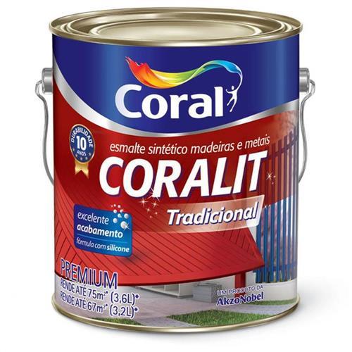 Tinta Esmalte Sintético Coralit Tradicional Brilhante Para Madeira e Metal Vermelho 3,6 Litros - CORAL