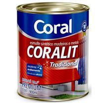 Tinta Esmalte Sintético Coralit Tradicional Brilhante Para Madeira e Metal Branco 900ml - CORAL