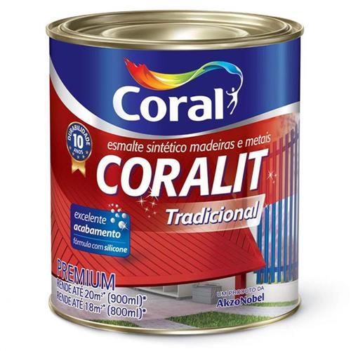 Tinta Esmalte Sintético Coralit Tradicional Brilhante Para Madeira e Metal Branco Gelo 900ml - CORAL
