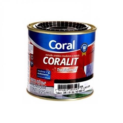 cc6c3d4486e Tinta Esmalte Sintético Coralit Fosco Para Madeira e Metal Preto 225ml -  CORAL