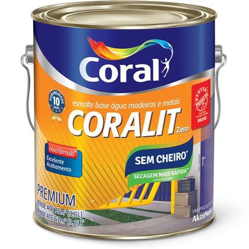 Tinta Esmalte Sintético Coralit Zero Brilhante Base Água Para Madeira e Metal Branco Gelo 3,6 Litros - CORAL