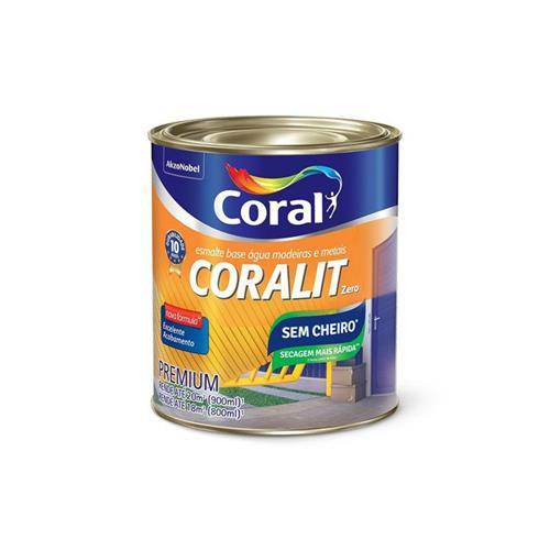 Tinta Esmalte Sintético Coralit Zero Acetinado Base Água Para Madeira e Metal Branco  900ml - CORAL