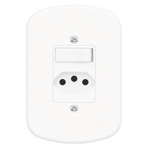 Conjunto Interruptor Simples + Tomada 2P+T 10A 250V Blanc - 1357 - FAME