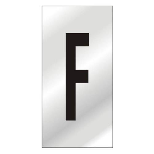 Placa de Alumínio Auto-Adesiva 2.5x5cm Letra F - 170 AF - SINALIZE