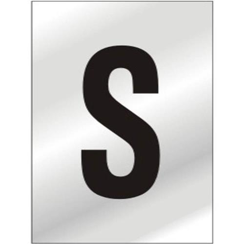 Placa de Alumínio Auto-Adesiva 2.5x5cm Letra S - 170 AS - SINALIZE