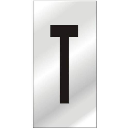 Placa de Alumínio Auto-Adesiva 2.5x5cm Letra T - 170 AT - SINALIZE