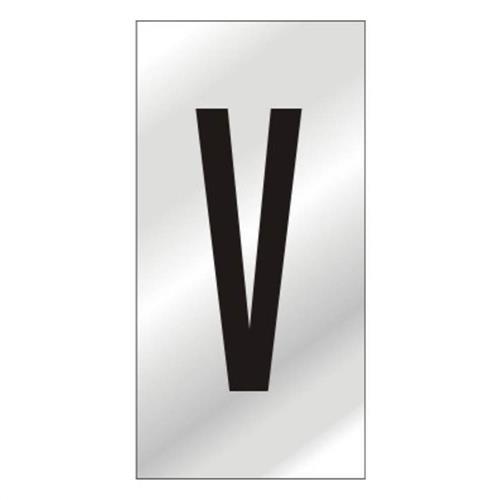 Placa de Alumínio Auto-Adesiva 2.5x5cm Letra V - 170 AV - SINALIZE