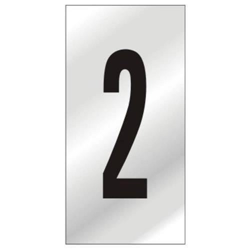 Placa de Alumínio Auto-Adesiva 2.5x5cm Numero 2 - 170 BC - SINALIZE