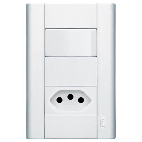 Interruptor Simples + Tomada 2P+T 10A 250V Distanciados  Modulare - 1435 - FAME