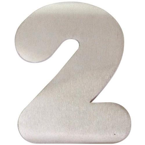 Algarismo Alumínio Escovado Pequeno Número 2 - 1875 - STANFER