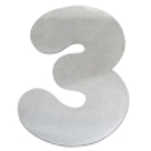 Algarismo de Alumínio Escovado Pequeno 4cm Número 3 - 1876 - STANFER