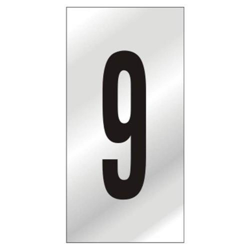Placa de Alumínio Auto-Adesiva 5x8cm Numero 9 - 160 BJ - SINALIZE