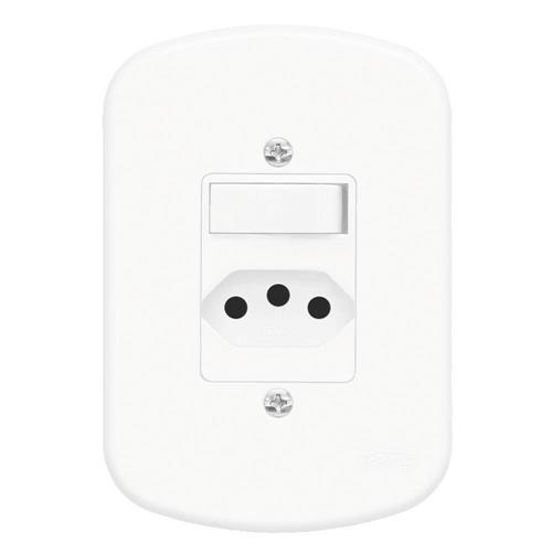 Conjunto Interruptor Simples + Tomada 2P+T 20A 250V Blanc - 1358 - FAME