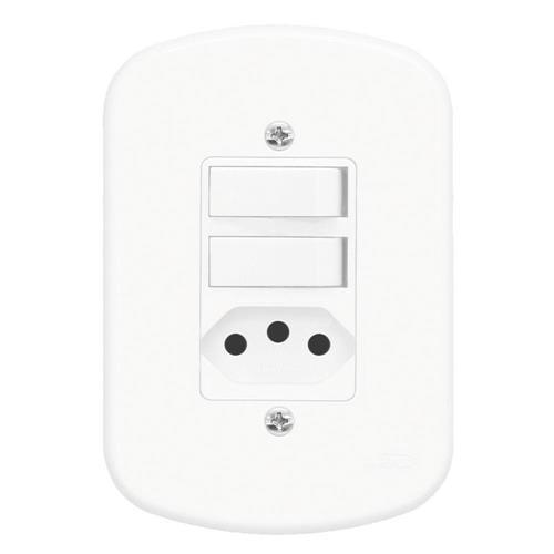 Conjunto 2 Interruptores Simples + Tomada 2P+T 20A 250V Blanc - 1364 - FAME