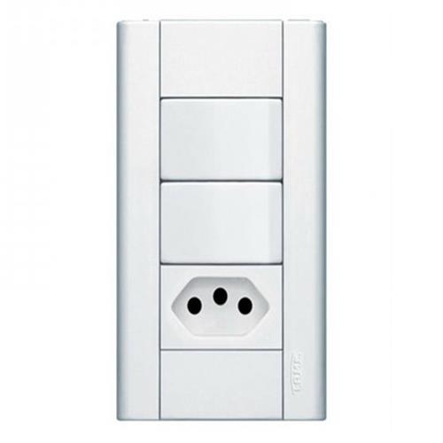 Conjunto 2 Interruptores Paralelos + Tomada 2P+T 10A 250V Modulare - 1443 - FAME