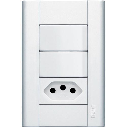Conjunto 2 Interruptores Simples + Tomada 2P+T 10A 250V Modulare - 1441 - FAME