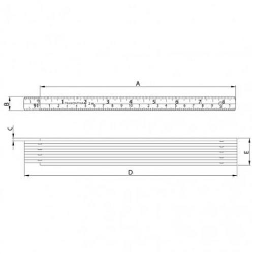 Escala Métrica em ABS 2 Metros - 43162/002 - TRAMONTINA