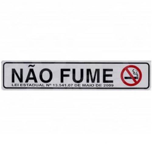 Placa de Alumínio Auto-Adesiva 5x25cm Não Fume - 100 AR - SINALIZE