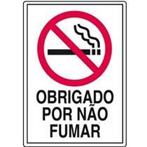 Placa de Poliestireno Auto-Adesiva 20x30cm Obrigado Por Não Fumar - 250 AK - SINALIZE