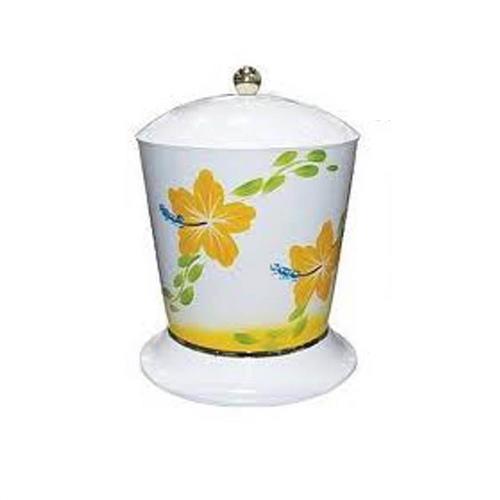 Multicesto Branco Com Pintura Floral de 4 Litros Com Solapa - BRG130 - BRANDS