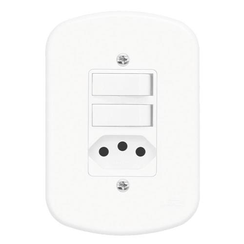 Conjunto Interruptor Simples + Interruptor Paralelo + Tomada 2P+T 10A 250V Blanc - 1367 - FAME