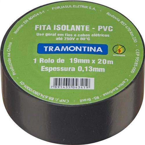 Fita isolante preta 20m 0.13mmx19mm tram  - 7891435043419 - TRAMONTINA