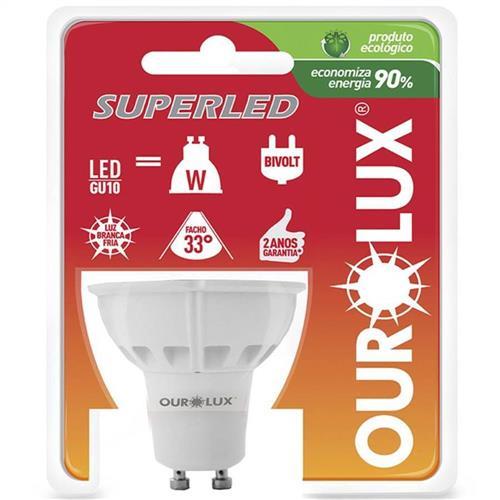 Lâmpada Dicróica Super Led GU10 Bivolt 3W 6400K - 03020 - OUROLUX