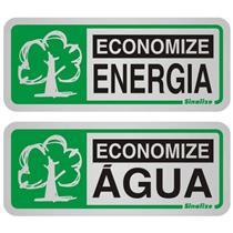2 Placas de Alumínio Auto-Adesiva 5x12cm Economize Energia / Economize Água - 900 BB - SINALIZE
