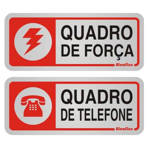 2 Placas de Alumínio Auto-Adesiva 5x12cm Quandro de Força / Quandro de Telefone - 900 BC - SINALIZE