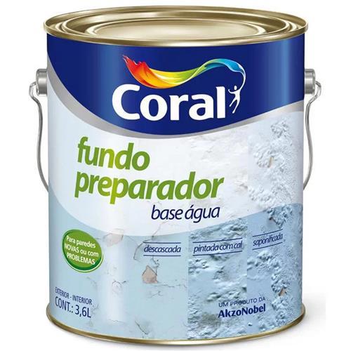Fundo Preparador Base Água Incolor 3,6 Litros - 5202617 - CORAL