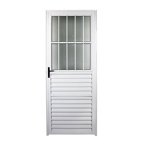 Porta de Alumínio Social 210x80cm Branca L-25 Direita - FACCE