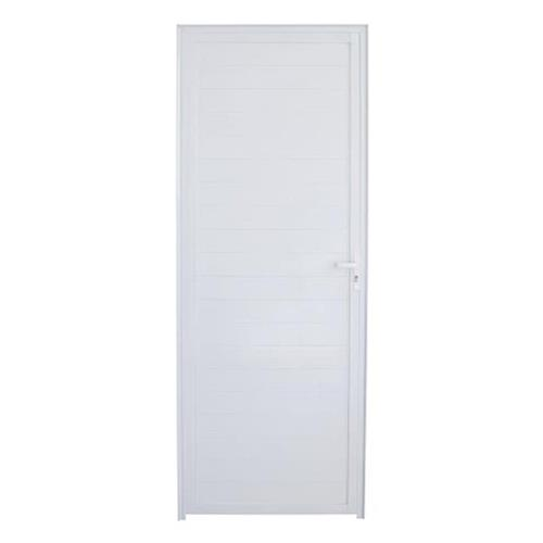 Porta de Alumínio Lambril Branca 210x80cm L-25 Direita - FACCE
