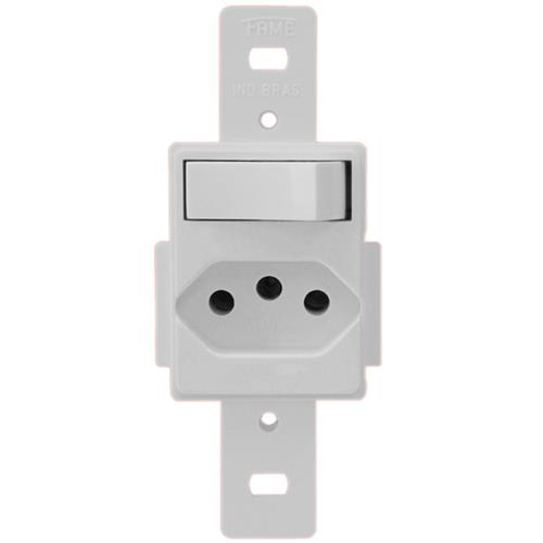 Interruptor Simples + Tomada 2P+T 10A NGR - 1304 - FAME