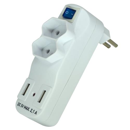 Adaptador Múltiplos 2 Tomadas 2P+T 10A 250V USB 5V - SL6017X - EXATRON